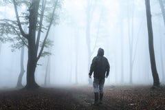 L'uomo scuro cerca in foresta nebbiosa Fotografia Stock