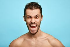L'uomo senza camicia furioso mostra le emozioni negative, sensibilità, isolata sopra fondo blu immagini stock