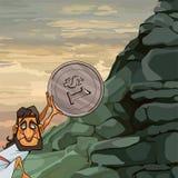 L'uomo Sisyphus del fumetto rotola una moneta sulla montagna illustrazione di stock