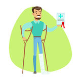 L'uomo sopra si accovaccia illustrazione di Infographic di servizi di Holding Health Insurance Contract, Insurance Company Fotografia Stock