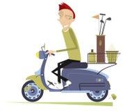 L'uomo sorridente guida il motorino e va giocare l'illustrazione isolata il golf illustrazione di stock