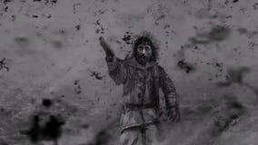 L'uomo spara una pistola negli zombie circostanti Fine del mondo illustrazione vettoriale