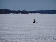 L'uomo sta aspettando il pesce per venire ad ottenere un certo alimento Fotografie Stock Libere da Diritti