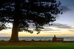 L'uomo sta esaminando il tramonto Immagine Stock Libera da Diritti