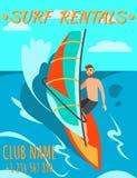 L'uomo sta guidando la spuma Affitto della spuma Fa windsurf l'affitto royalty illustrazione gratis