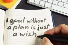 L'uomo sta scrivendo lo scopo di A senza un piano è appena un desiderio fotografie stock libere da diritti