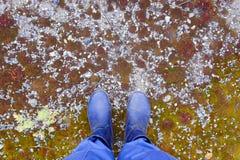 L'uomo sta su terra pietrosa Fotografia Stock Libera da Diritti