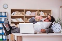 L'uomo stanco che dorme a casa avendo troppo lavoro Immagine Stock Libera da Diritti