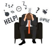 L'uomo stanco ritiene cattivo Troppo lavoro, concetto Concetto di termine royalty illustrazione gratis