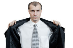 L'uomo su una priorità bassa bianca Fotografia Stock Libera da Diritti