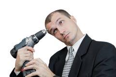 L'uomo su una priorità bassa bianca Fotografia Stock