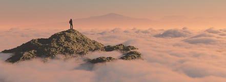 L'uomo sulla montagna Fotografia Stock