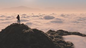 L'uomo sulla montagna Immagini Stock Libere da Diritti