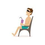 L'uomo sulla spiaggia Illustrazione di vettore Illustrazione di Stock