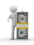 L'uomo tiene i soldi su priorità bassa bianca Fotografie Stock