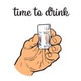L'uomo tiene una pila con l'alcool trasparente illustrazione vettoriale