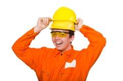 L'uomo in tute arancio su bianco Immagine Stock