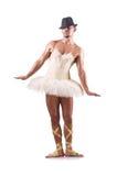 L'uomo in tutu che esegue ballo di balletto Fotografie Stock Libere da Diritti