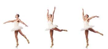 L'uomo in tutu di balletto isolato su bianco Immagini Stock Libere da Diritti