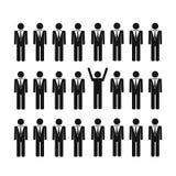 L'uomo unico in un gruppo pensa il concetto differente illustrazione di stock