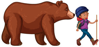 L'uomo va fare un'escursione con Big Bear dietro lui Royalty Illustrazione gratis