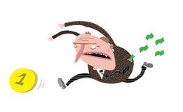 L'uomo in vestito che insegue una moneta, perde i contanti Immagine Stock