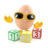 l'uovo 3d impara contare Fotografia Stock Libera da Diritti