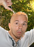 L'uovo dell'uomo invece della testa Immagini Stock