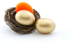 L'uovo di nido rosso ambrato minaccia la stabilità di investimento Immagini Stock Libere da Diritti