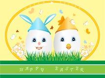 L'uovo di Pasqua di due gradisce il pollo ed il coniglietto Immagini Stock