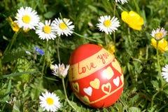 L'uovo di Pasqua rosso che si trova nello springflower ha coperto il prato Fotografie Stock