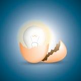 L'uovo incrinato ed ottiene la lampadina, l'idea ed il concetto di affari Fotografia Stock