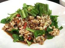 L'uovo piccante dell'insalata della formica, alimento tailandese tradizionale di stile Fotografie Stock