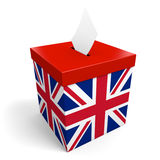 L'urna del Regno Unito per la raccolta dell'elezione vota nel Regno Unito o in Gran-Bretagna Fotografia Stock Libera da Diritti