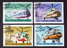 L'URSS - CIRCA 1980: una serie di bolli stampati in URSS, elicotteri di manifestazioni, CIRCA 1980 Fotografia Stock Libera da Diritti