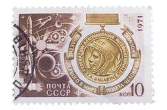 L'URSS vers 1971 : timbre consacré au jour de la cosmonautique, 10ème Photographie stock libre de droits