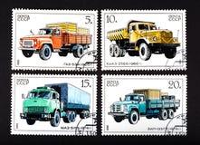 L'URSS - VERS 1986 : une série de timbres imprimés en URSS, camions d'expositions, VERS 1986 Photo libre de droits