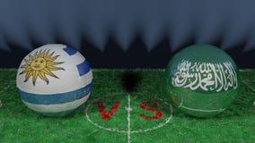L'Uruguay contre la coupe du monde 2018 de l'Arabie Saoudite la FIFA Image 3D originale Photo libre de droits