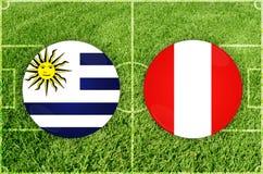 L'Uruguay contre le match de football du Pérou photo libre de droits