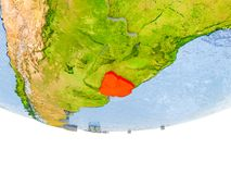 L'Uruguay en rouge sur le modèle de la terre Photographie stock