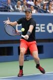 L'US Open 2017 doppi misti sostiene Jamie Murray della Gran Bretagna nell'azione durante la partita finale Fotografia Stock Libera da Diritti