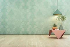 L'usine d'intérieur sur la table basse en acier rose et la lampe avec la triangle vide de turquoise modèlent le fond de mur Image stock