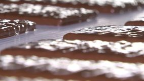 L'usine de chocolat, chocolats se déplacent le long du convoyeur clips vidéos