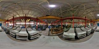 L'usine des panneaux concrets pour le souterrain perce un tunnel grand-angulaire Image libre de droits