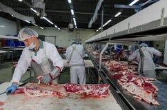 L'usine pour la production de la nourriture des ingrédients naturels Boucher Shop Boeuf de abattage Photos libres de droits