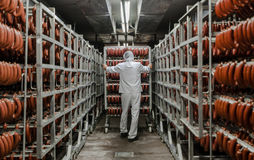 L'usine pour la production de la nourriture des ingrédients naturels Boucher Shop Boeuf de abattage Photo libre de droits