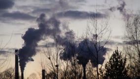 L'usine pour le traitement d'à fonte et d'en acier, des cheminées de fumée noircissent le timelapse, brouillard enfumé dans la vi clips vidéos