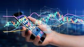 L'usng d'homme d'affaires un smartphone avec un 3d rendent la bourse des valeurs TR Photos stock