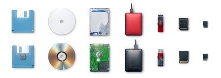 L'uso dei dispositivi per informazioni di registrazione e trasferimento o backup d immagini stock