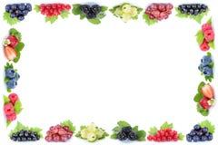 L'uva delle fragole delle bacche incornicia lo PS della copia del copyspace delle bacche Fotografia Stock Libera da Diritti